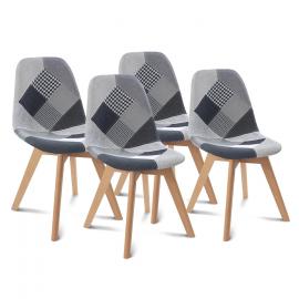 Lot de 4 chaises SARA motifs patchwork noirs, gris et blancs