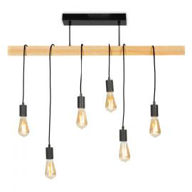 Suspension métal et bois 6 ampoules design industriel