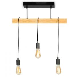 Suspension métal et bois 3 ampoules design industriel