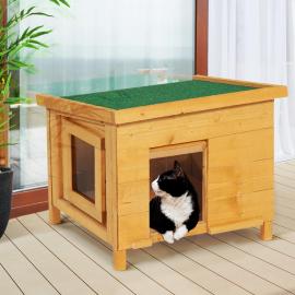 Maison pour chat niche en bois avec porte à lamelles