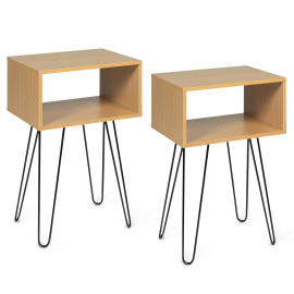 Lot de 2 tables de chevet NOEMI bois pied épingle