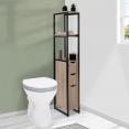 Meuble WC 3 portes design industriel avec étagères