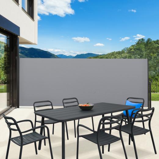 Paravent extérieur rétractable 400 x 160 cm gris clair store latéral