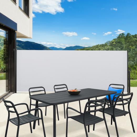 Paravent extérieur rétractable 400 x 160 cm blanc store latéral