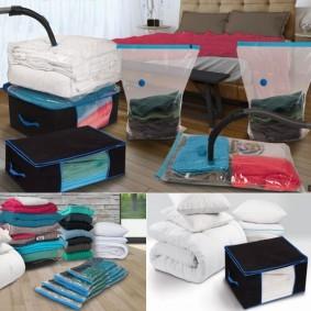 Lot de 5 sacs housses et 2 coffres rangement sous vide aspirateur