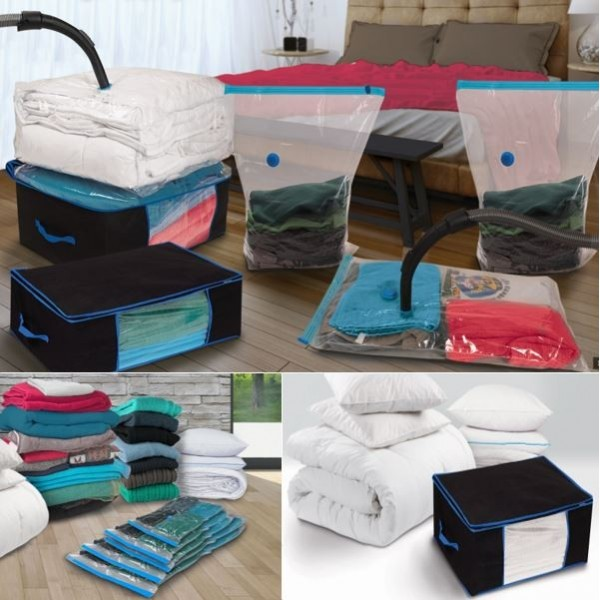lot de 5 sacs housses et 2 coffres rangement sous vide aspirateur ebay. Black Bedroom Furniture Sets. Home Design Ideas