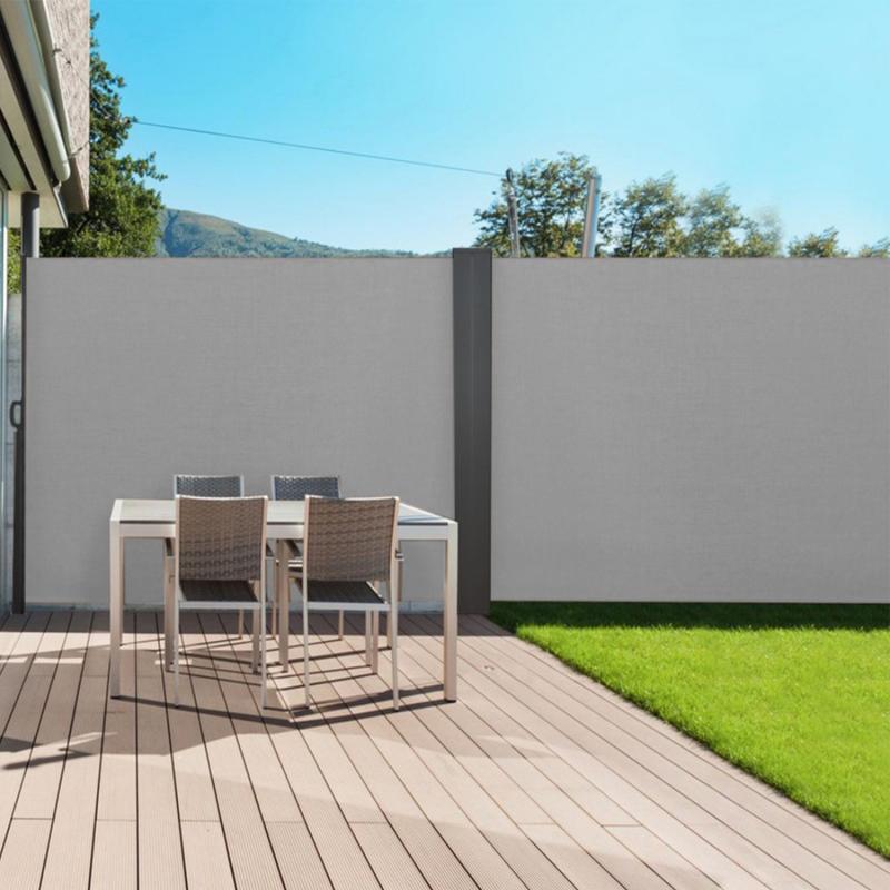 paravent exterieur retractable double 800 x 160 cm gris clair store lateral