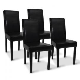 Lot de 4 chaises HANNAH noires pour salle à manger