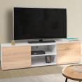 Meuble TV ELI blanc portes façon hêtre