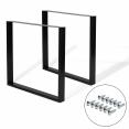 Lot de 2 pieds de table carrés noirs 78x71 cm design industriel