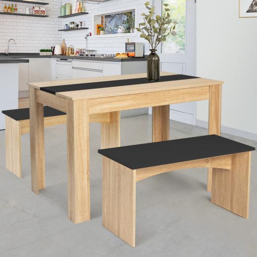 Ensemble table à manger 110 cm et 2 bancs ROZY 4 personnes hêtre et noir