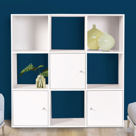 Meuble de rangement cube 9 cases bois blanc avec 3 portes