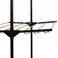 Séchoir à linge inox MAXIMA noir et aspect bois étendoir pliable H.145 cm