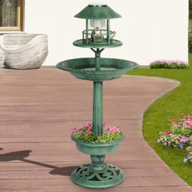Bain et mangeoire vert à oiseaux avec lampe solaire