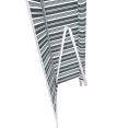 Store banne manuel 3,95 m x 3 m gris rayé blanc lambrequin enroulable H. 1,40 m