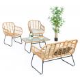 Salon de jardin bas BELEM imitation rotin 4 places