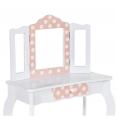 Coiffeuse enfant ROZA blanche et rose avec 3 miroirs et tabouret