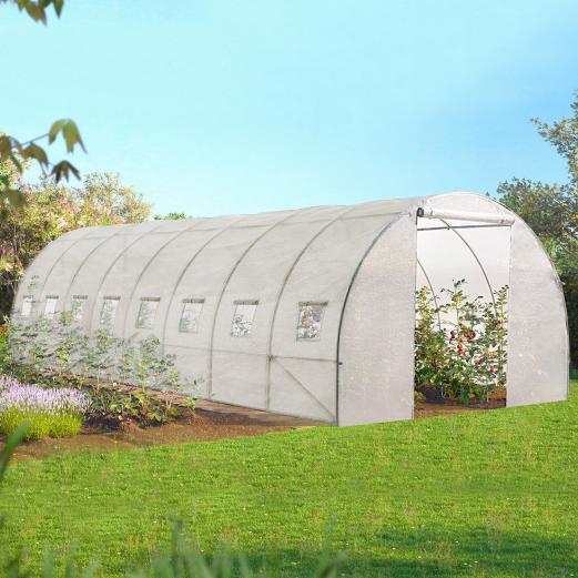 Serre tunnel de jardin 24m² blanche gamme maraichère DES ANDES 8x3M