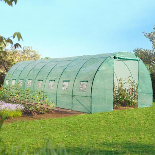 Serre tunnel de jardin 24m² verte gamme maraichère DES ANDES 8x3M
