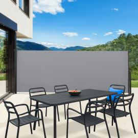 Paravent extérieur rétractable 400 x 200 cm gris clair store latéral