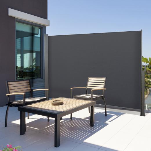Paravent extérieur rétractable 300x180cm gris anthracite store vertical