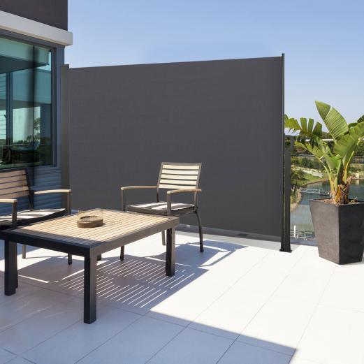 Paravent extérieur rétractable 140 x 250 cm gris anthracite store vertical