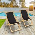 Lot de 2 chaises longues pliantes en bois avec toile noire