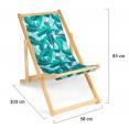 Lot de 2 chaises pliantes bois toile motifs tropicaux