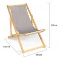 Lot de 2 chaises pliantes bois toile taupe