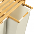 Bac à linge double bambou ALI tissu écru