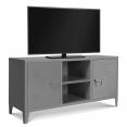 Meuble TV 2 portes ESTEL en métal gris foncé