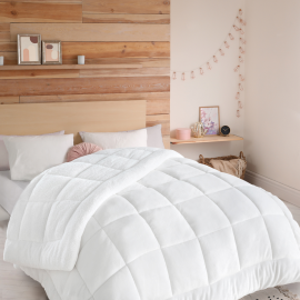 Couette flanelle sherpa biface 220x240 cm blanche