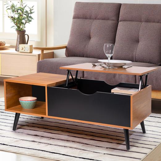 Table basse plateau relevable EFFIE bois et noir