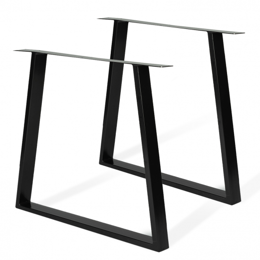 Lot de 2 pieds forme trapèze 78x71 cm noirs pour table design industriel