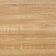 Ilot central IVO 120 cm blanc avec plan de travail façon hêtre