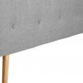Tete de lit scandinave capitonnée Alta 140cm en tissu gris clair