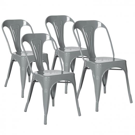 Lot de 4 chaises LENY métal gris brillant empilable pour salle à manger