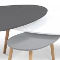 Lot de 3 tables basses gigognes GIGI laquées gris foncé/blanc/gris clair