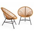 Lot de 2 fauteuils de jardin IZMIR effet rotin design oeuf avec cordage plastique
