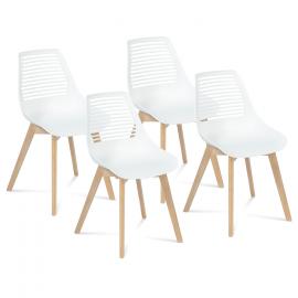 Lot de 4 chaises BONNIE blanches pour salle à manger