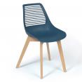 Lot de 4 chaises BONNIE bleu canard pour salle à manger