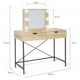 Coiffeuse LOUISA design industriel avec miroir LED
