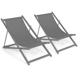 Lot de 2 chaises longues pliantes chilienne métal toile gris anthracite