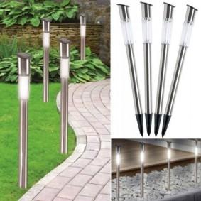 Lampe borne solaire tube X 4 inox éclairage extérieur led 70 cm