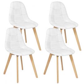 Lot de 4 chaises GABY blanches pour salle à manger