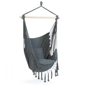 Hamac BALI siège suspendu gris avec coussin