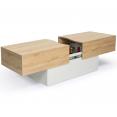 Table basse bar coulissante MARTA bois blanc et imitation hêtre