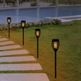 Lot de 4 lampes torches 53 LED flamme