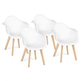 Lot de 4 fauteuils SARA blancs