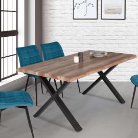 Table à manger DAKOTA 6 personnes pieds forme en X design industriel 160 cm